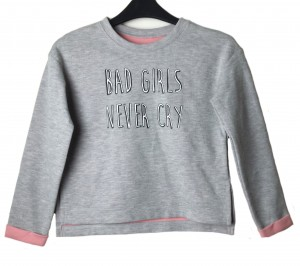 C&A Bluza szara napis Bad Girls Never Cry 170-176